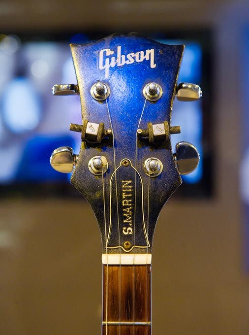 The headstock of Steve Martin's first banjo, purchased in the early 1960's, at the Steve Martin exhibit at the American Banjo Museum in Oklahoma City, Tuesday, Feb. 16, 2016. - GARETT FISBECK