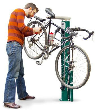 A bike repair station allows users to perform minor tune ups. (Provided)