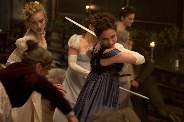 Lily James (center) and Bella Heathcote (left) in Screen Gems' PRIDE AND PREJUDICE AND ZOMBIES. - JAY MAIDMENT