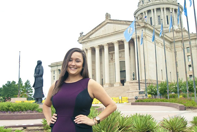 Oklahoma House District 85 candidate Cyndi Munson in front of the State Capitol.  mh