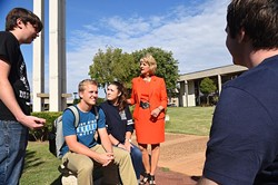 Dr. Jeanie Webb, President of Rose State College, chats with a group of students out on the campus, 9-24-15. - MARK HANCOCK