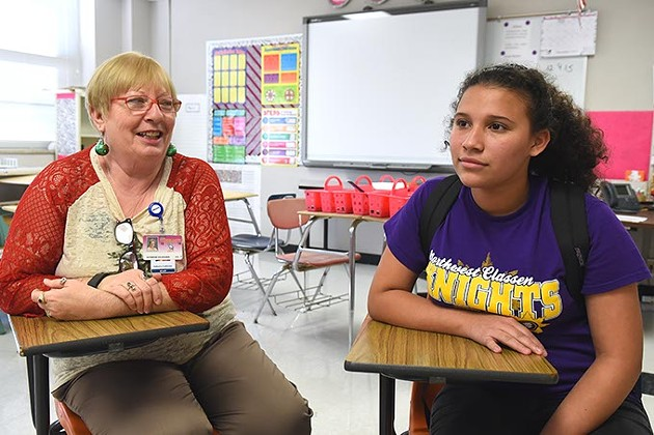 From left, Katherine Holzheuser, teacher at Northwest Classen High School, and Andrea Melendez, student, during the Gazette interview, 12-9-15. - MARK HANCOCK