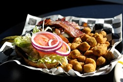 Bacon swiss burger with fried okra at Lumpy's Sports Bar and Grill in Oklahoma City, Tuesday, Nov. 18, 2014.  Photo by Garett Fisbeck - GARETT FISBECK