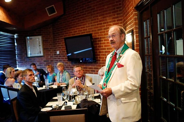 Phillip Jody speaks during a meeting of The Chaine des Rotisseurs at Opus Prime Steakhouse in Oklahoma City, Saturday, July 25, 2015. - GARETT FISBECK