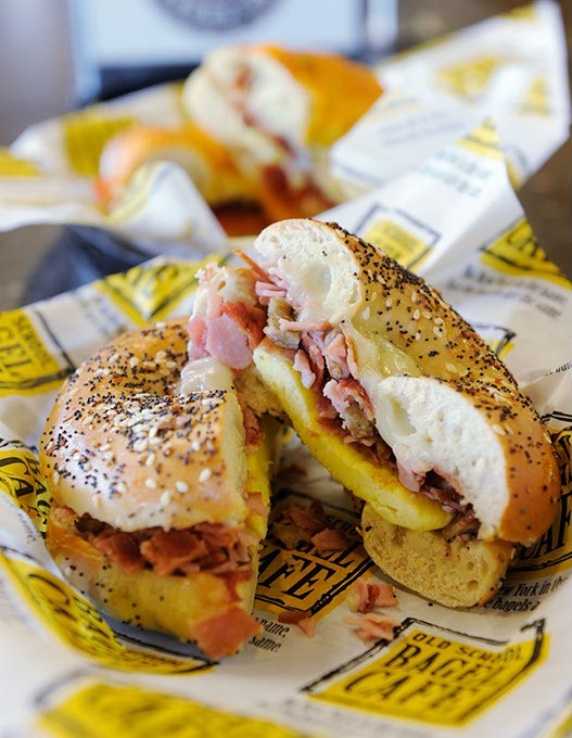 Meat lovers sandwich on everything bagel at Old School Bagel Cafe in Moore, Thursday, Sept. 17, 2015. - GARETT FISBECK