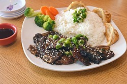 Grilled short rib rice platter at B&B Wok, Noodles and Moore.  mh