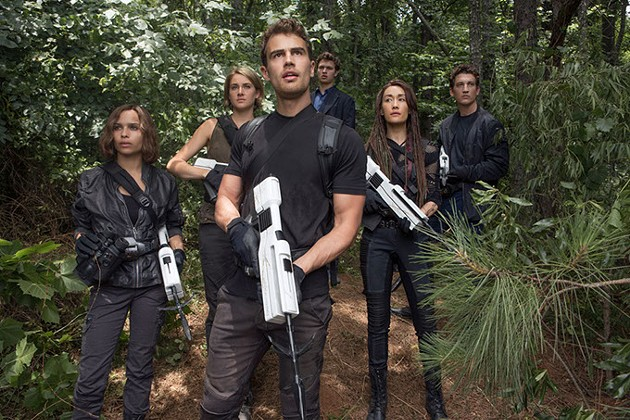 From left Christina (Zöe Kravitz), Tris (Shailene Woodley), Caleb (Ansel Elgort), Four (Theo James), Peter (Miles Teller) and Tori (Maggie Q) in The Divergent Series: Allegiant — Part 1. (Murray Close / Summit / Provided)