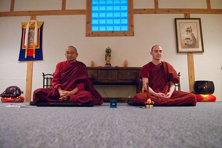 Left, Ananda and Santikaro, conduct a Vipassana Meditation at Windsong Dojo on Tuesday evening, 8-26-14.  mh