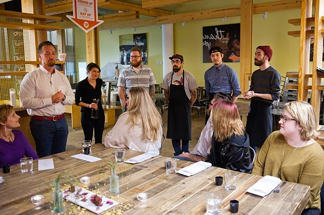 Todd Woodruff introduces the Nonesuch staff during a dinner at Waffle Champion in Oklahoma City, Monday, Jan. 25, 2016. - GARETT FISBECK