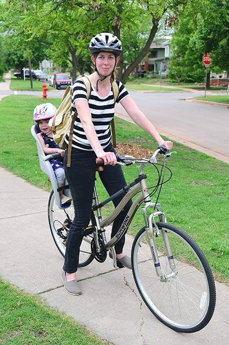 Annie and Martha Lee arrive at Perle Mesta Park as part of the Kidical Mass program, Saturday, 4-18-15.  mh