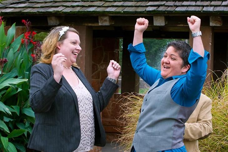 Jennifer Anne Allen-Barron and Bonnie Kay Allen-Barron celebrate their marriage at The Rose Garden in Will Roger's Park.Photo/Shannon Cornman - SHANNON CORNMAN