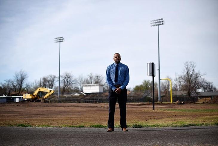 Adrian Anderson at the Star-Spencer High School football field, Tuesday, March 8, 2016. - GARETT FISBECK