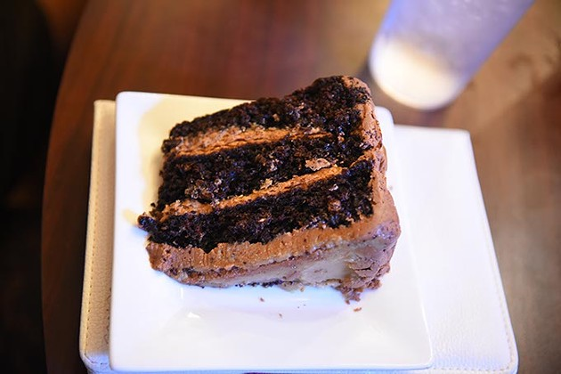 A slice of vegan chocolate cake at The Red Cup.  mh