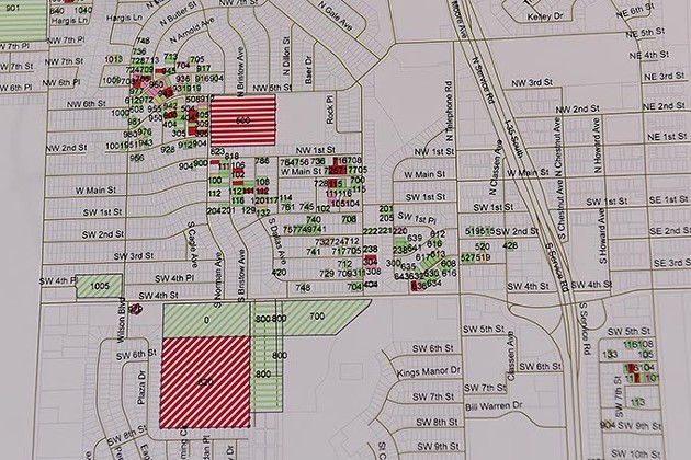 Preliminary damage assesment from Moore's recent March 25th tornado, plotted on a map at the Community Renewal Center.  mh