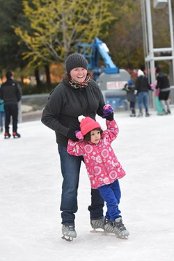 Christine Dowd with Mia Jacobs, at the Devon Ice Rink at the Myriad Botanical Gardens, 11-12-14.  mh