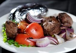 A kabob at Jamil's Steakhouse. (Garett Fisbeck)