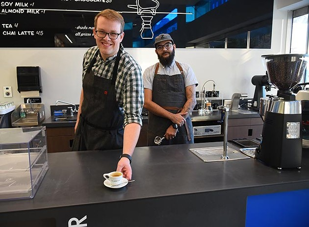 Steve Willingham, owner, and Paul Zimmerman with a espresso coffee drink at the new Clarity Coffee the day before the grand opening, located at the east end of the Arts District parking garage, 12-7-15. - MARK HANCOCK