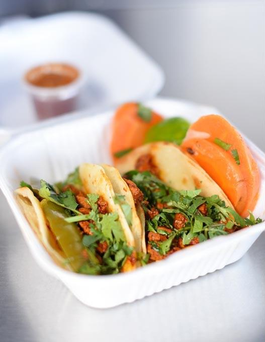 Pollo tacos at Taqueria Sanchez, Friday, March 4, 2016. - GARETT