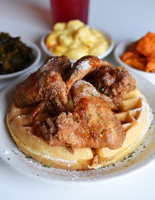 Chicken and waffles at Mama E's in Oklahoma City, Tuesday, March 1, 2016. - GARETT FISBECK