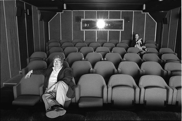 Gene Siskel and Roger Ebert in screening room for photo shoot for People Weekly, June 13, 1984; Chicago - KEVIN HORAN