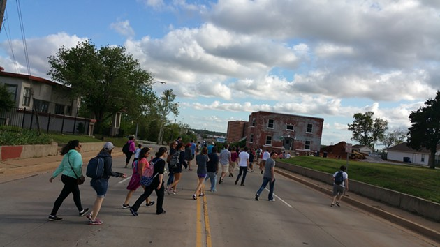 The first Trailhead urban hike completed a 6.2 mile journey through downtown Oklahoma City. - BEN FELDER