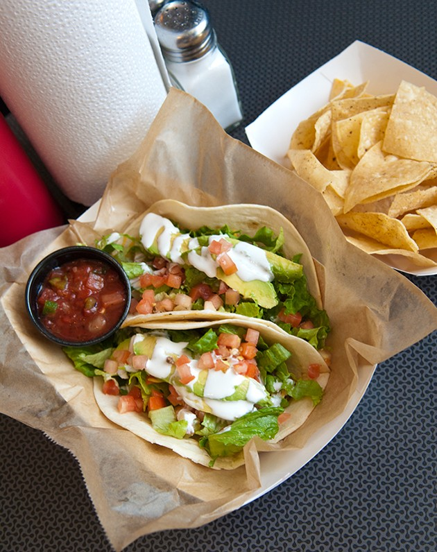 2 tacos basket at The Garage, 1117 N. Robinson Ave., in Midtown OKC. (Mark Hancock)