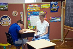 Carla Belisle teaches Timothy at Little Light Christian School. (Mark Hancock)
