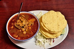 Pozole at Taqueria la Tropicana, 12-21-15. - MARK HANCOCK