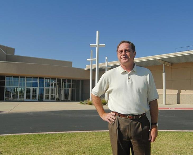 Senior Pastor Dan Fisher outside Trinity Baptist Church in Yukon, 12-2-2008. Mark Hancock