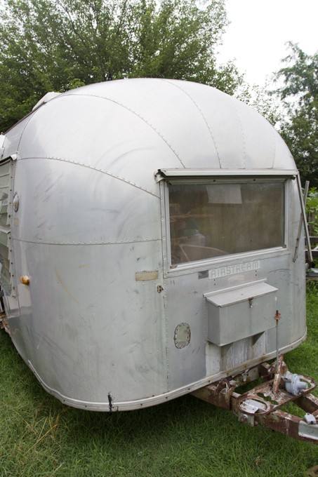 Shot 6/16/2015 Shawnee, newly owners of a Vintage airstream Vanessa Morrisan and Bruce Waight is being renovated to soon serve haircuts to the community.