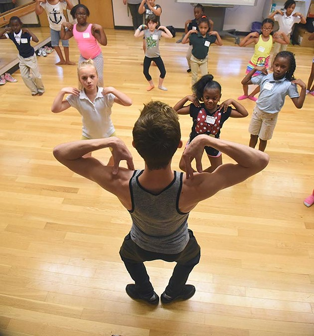 OKC Ballet's Walker Martin teaches kids at Boys & Girls Club, 3535 N. Western Avenue, during 1 of the 2, 1 hour sessions held on August 11th and 12th.  mh