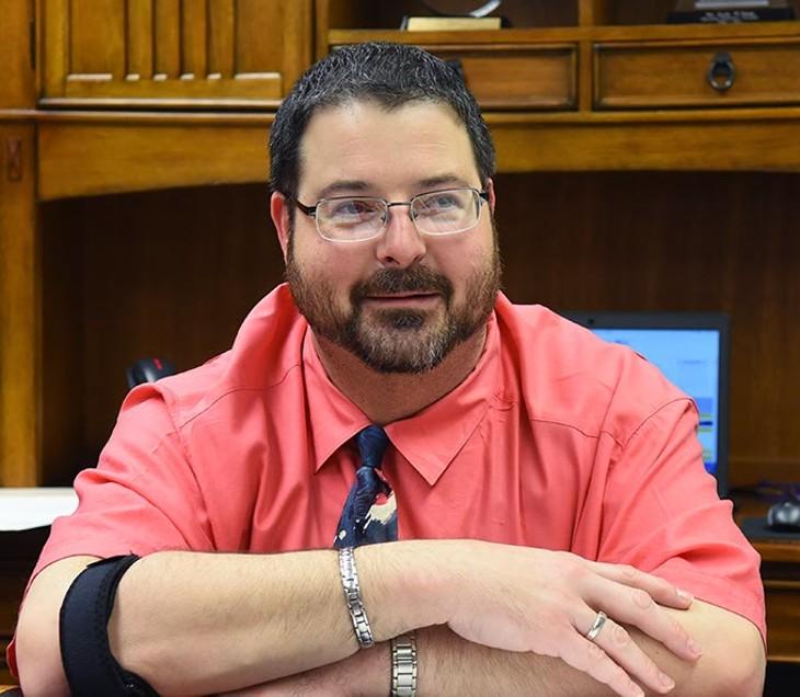 Northwest Classen High School Principal, Kirk Wilson, 12-9-15, at the OKCP school. - MARK HANCOCK