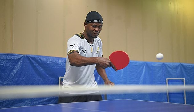 Winfred Addy from Ghana, at the OKC Table Tennis Club, locatied in Plaza Major at the Crossroads Mall.  mh