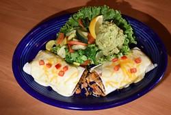 Chicken Burrito with quacamole and veggies, at Hidalgo's Cocina & Cantina in Edmond, Oklahoma, 1-19-16. - MARK HANCOCK