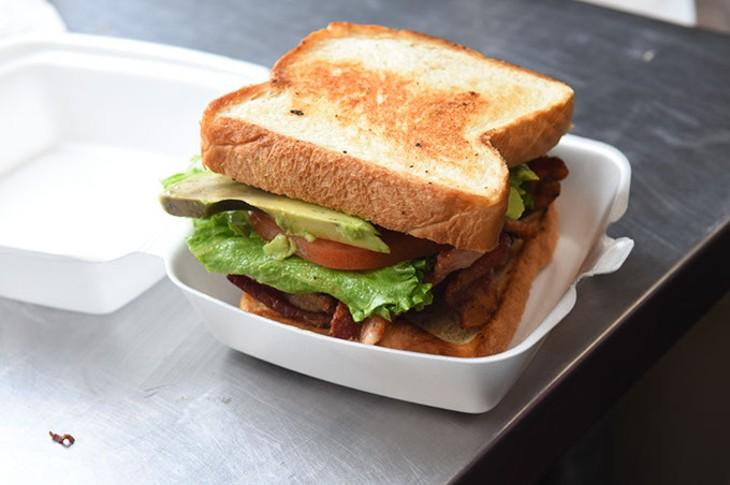 BLT sandwich with avocado, inside Parking Lot Party (PLP) food truck. (Mark Hancock)