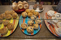 Muffins and other baked goodies are available near the cash register for walk-in customers. (Mark Hancock)