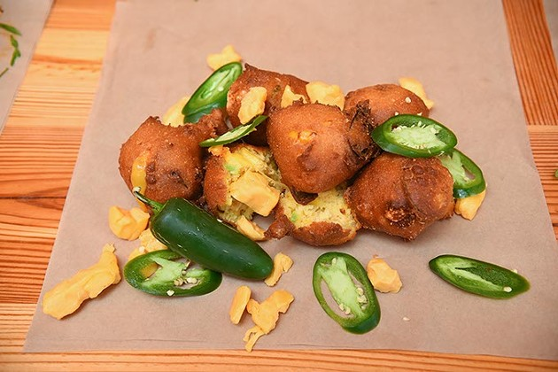 Jalapeno cheese hushpuppies, on the counter at Anchor Down.  mh