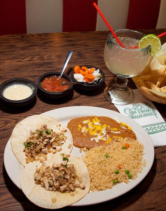 Chicken Tacos plate with a Margarita, at Casa Perico Mexican Grill, 4521 NW 63rd.  mh