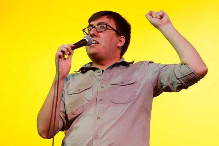 Comedian Cameron Buchholtz performs at the Sooner Theatre during Norman Music Festival, Thursday, April 23, 2015. (Garett Fisbeck)