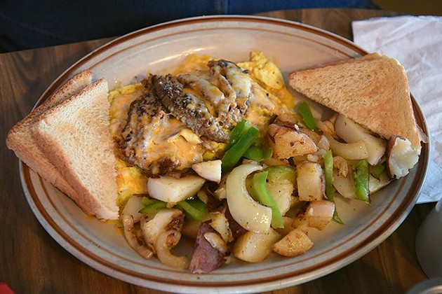 Chelio's everything omelette with home fries.  mh