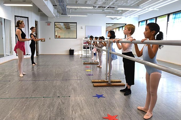 5 to 7 year olds learn to dance, instructed by Katie Dudzik, left, in O.C.U.'s Community Dance Center.  mh