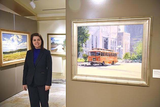 """""""You can infer a lot through historical context through the arts,"""" Amber Sharples said of the Oklahoma State Art Collection at the Capitol building. (Mark Hancock)"""