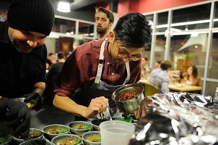 JeffChanchaleune preps dishes during a recent Project Slurp event. (Garett Fisbeck)