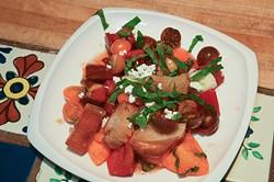 A fresh ingredient salad made by Chef Barbara at Kamala Gamble's home.  mh