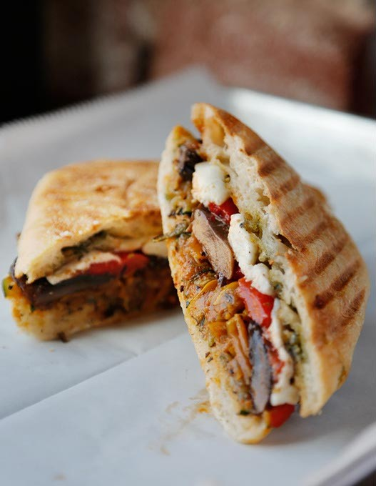 Roasted Vegetable Ciabatta Sandwich at Peloton Wine Bar & Cafe in Oklahoma City, Friday, March 3, 2015. - GARETT FISBECK