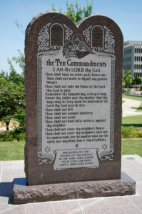 The Ten Commandments monument at the Oklahoma State Capitol in Oklahoma City, Tuesday, June 30, 2015. - GARETT FISBECK