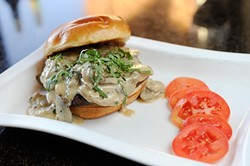 Mushroom marsala burger at Bellini's Ristorante in Oklahoma City, Monday, Feb. 1, 2016. - GARETT FISBECK