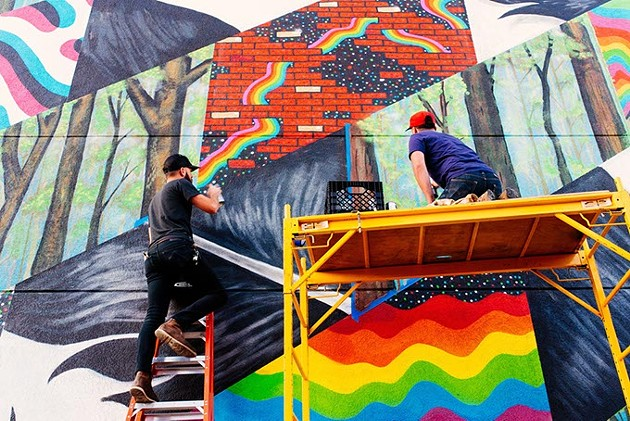 Jerrod Smith, left, and Dusty Gilpin collaborate on a mural in Oklahoma City. - QUIT NGUYEN