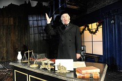 """Christopher Bloch plays Scrooge in the Lyric Theatre's production of """"A Christmas Carol"""" in Oklahoma City, Thursday, Dec. 3, 2015. - GARETT FISBECK"""