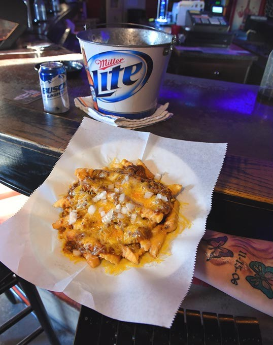 Chilly Cheese Fries at Tailgate Grill in Oklahoma City, 2-15-16. - MARK HANCOCK